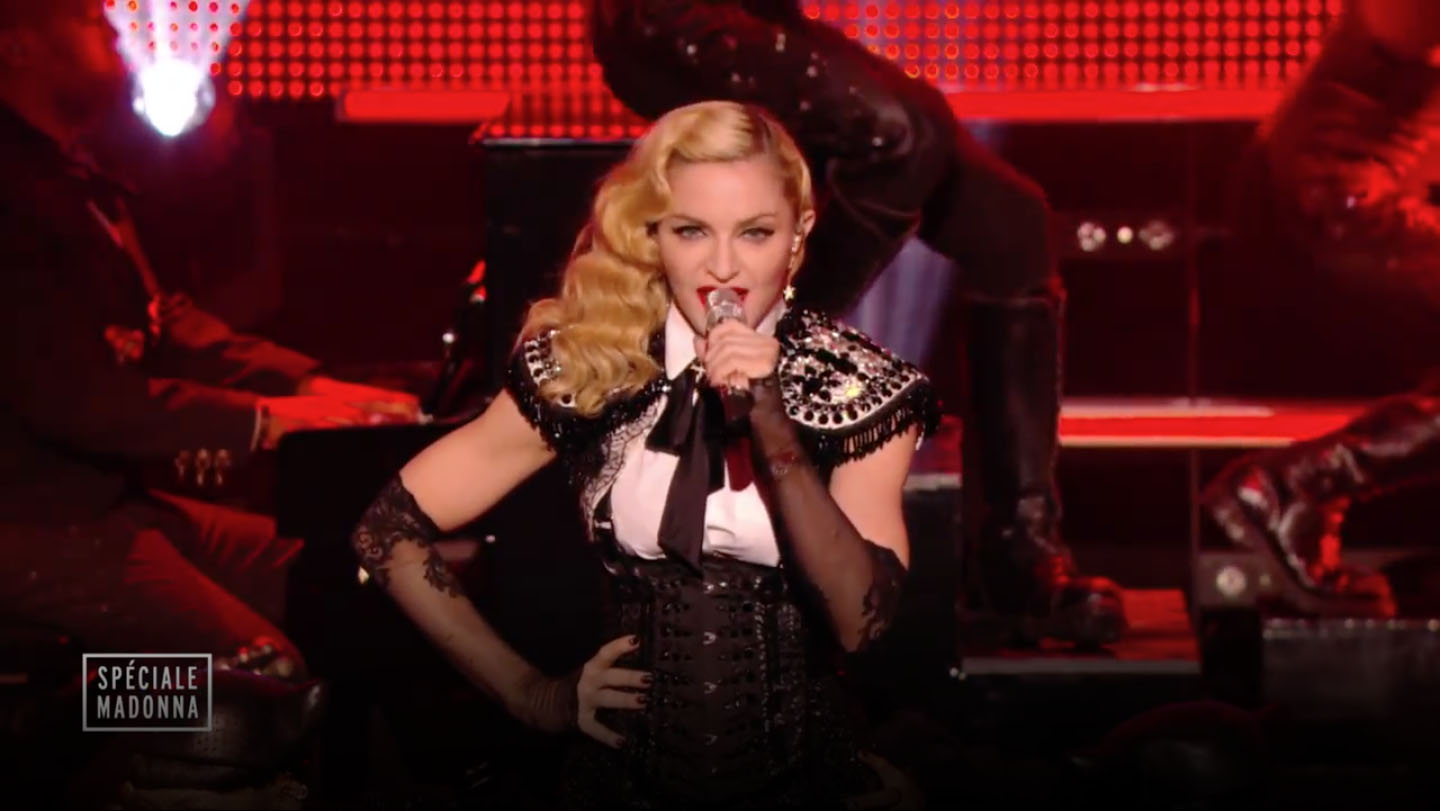 Madonna performing in bolero on aura tout vu couture france at canal tv8